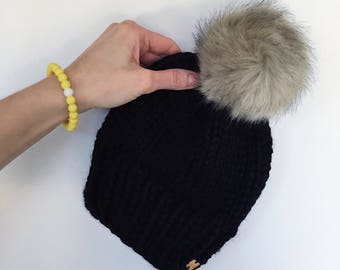 Toddler (3-5 year) size beanie, hat, toque, fur pom hat, pom pom hat
