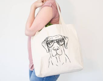 Rowdy Labrador Aviators Dog Canvas Tote Bag