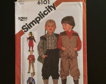 1983 Simplicity Pattern # 6101, Child Size 6, Pants, Knickers, Shirt, and Vest, Uncut