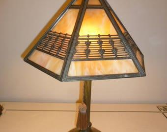 Antique bronze and 6 panels slag glass Art Nouveau table lamp circa 1910s