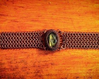 Labradorite and copper bracelet