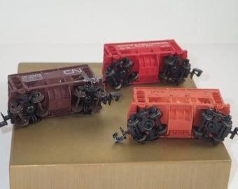 SALE Lot of 3 - N Scale ATLAS Trains Vintage, 70 Ton Ore / Coal Car wt Load, Minnesota Smelting, Cn & Duluth Harbors Coal Cars, Train Hobbyi