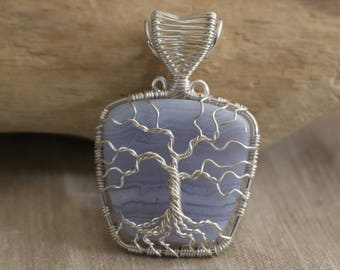 Blue Lace Agate Tree of Life Pendant with Silver plated wire