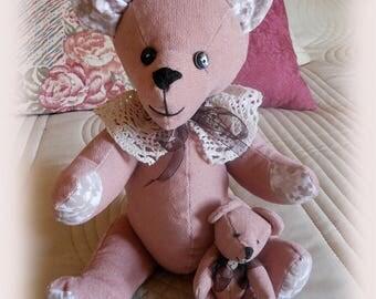 Pink velvet bear and her cub