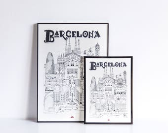 Illustration of Barcelona - series * Travel With Me *. Black and white. 32 x 45 cm