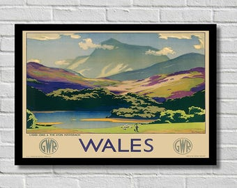 Vintage Wales Travel Countryside  Poster / Print  A4 & A3