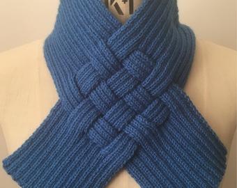 Blue Woven Rib Scarf Collar