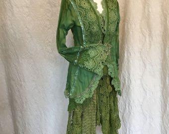 Jacket boho emerald green,Elven green coat,eco friendly fashion,rustic,Woodland jacket,handmade,unique,festival couture, burning man,raw
