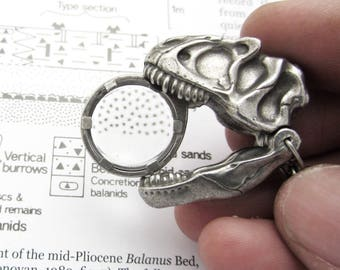 Allosaurus Skull Magnifier Keychain or Necklace - Dinosaur Skull Magnifying Loupe, Magnifying Glass, Magnifier