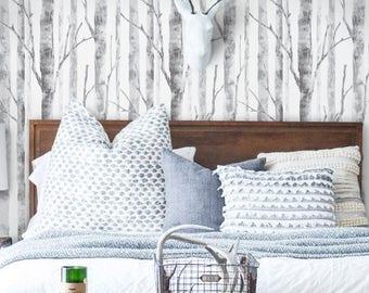 modern birch tree pattern peel u0026 stick fabric wallpaper
