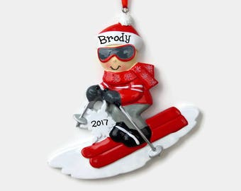 SHIPS FREE - Skier Personalized Ornament - Hand Personalized Christmas Ornament