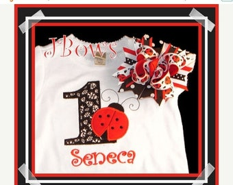 ON SALE Ladybug Birthday Applique Shirt and Matching Hairbow - Birthday - Number