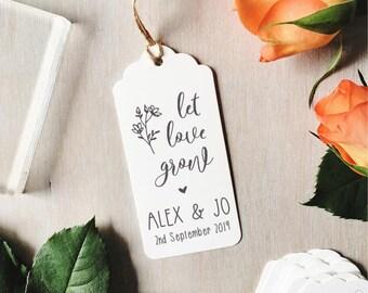 Let Love Grow Stamp | Custom Wedding Stamp - Wedding Favours - Save The Dates - Botanical Wedding