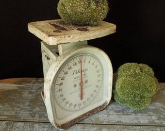 Way-ette Pelouze Scale - Rustic Old Metal 50 LB. Kitchen Scale - Farmhouse Primitive Cottage Chic Home Decor Display Prop Vintage