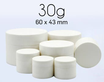 50 pcs (30g) Plastic Jar, Pot, Bottle with Lid & Disc Liner - Skincare Face Cream, Cosmetic, SPA Bath Packaging
