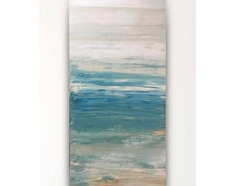 "Teal abstract, painted on wood, nautical art,modern art,teal tan beige,original art,hand painted,24""x48"",large abstract,wall art,beach decor"
