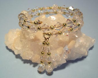 Crystal and Gold Memory Wire Bracelet