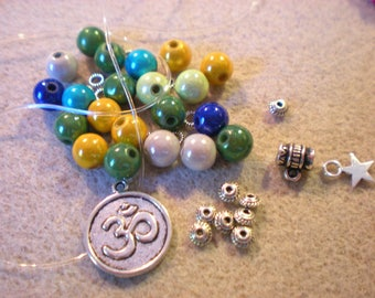 "KIT 1 ""ohm and blue green magic beads"" bracelet for 8 mm"