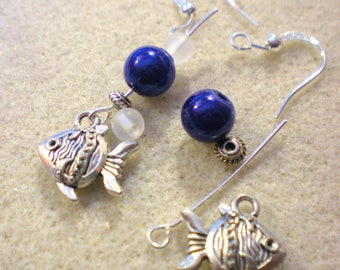 KIT EARRINGS * 蓝鱼 Lan yu blue sea * silver plated