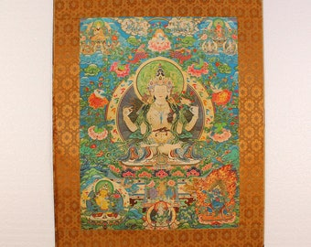 N4570 Hand Painted Tibetan Buddhism Kraft Thangka - Tara