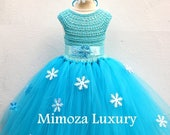 SALE Elsa Deluxe Princess dress turquoise tutu dress frozen themed birthday party Elsa Frozen princess dress Frozen costume outfit Elsa d