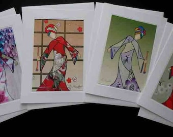 Lady With Flute, Asian Art, Musical Art, Greeting Card Set