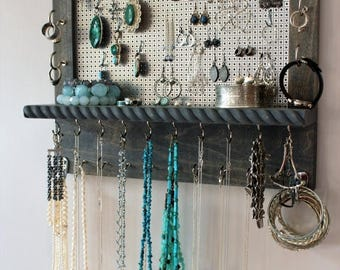 ON SALE You Pick The Satin and Mesh Wall Mounted Jewelry Organizer, Wall Organizer, Jewelry Display, Necklace Holder, Earring Organizer