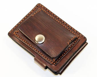Brown leather wallet, credit card wallet, mini wallet, handmade wallet, leather wallet, business card holder, coin wallet.