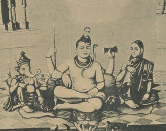 Antique Indian Postcard - Shiva and His Family.
