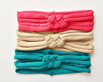 Summer Set - baby Sailors knot headbands, soft newborn head wrap