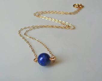 Lapis Lazuli Necklace, 14k Gold Filled or 925 Sterling Silver, Layering Necklace, Stone Necklace, Bridesmaid Gift, September Birthstone