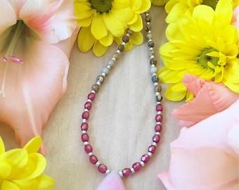 Gemstone Necklace - Pink Quartz