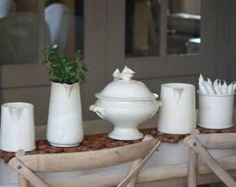 Charming Small French kitchen Antique ironstone Pot / Jam Jar Confiture Marmalade Jar 1800's  Saint Amand & Hamage Nord Kitchen Table Decor