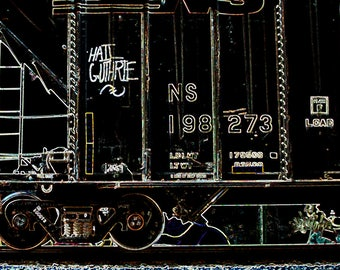 Hail Guthrie 2: Train are, graffiti. Frame not included. Individually photographed and printed by Frank Heflin