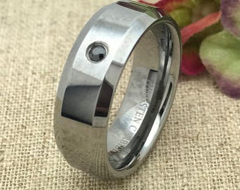 8mm Tungsten Ring Wedding Ring, Personalized Custom Engraved Tungsten Ring with 0.05ct Black Diamond, Father's Day Gift