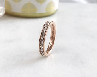 3mm Rose Gold Plated Titanium Ring, Eternity CZ Ring, Custom Promise Ring for Her, Purity Ring, Coordinates Ring, Date Ring, Kids Name Ring
