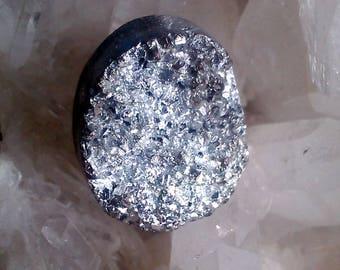Crystal druzy titanium 22 x 17, 5x9mm cabochon silver plated