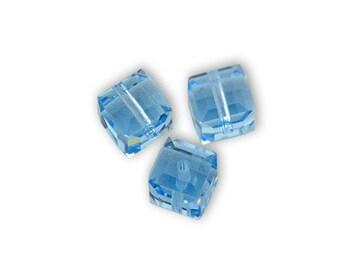 2 Pearl 6mm Crystal aquamarine Swarovski Crystal cube