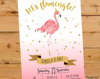 Flamingo Invitation, Flamingo Party Invite, Let's Flamingle Invite, watercolor, Flamingo Birthday Invite, Let's Flamingle Party, Luau