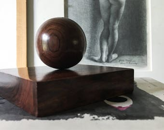Sven Petersen Brazilian Rosewood Art Object by SAAP Denmark Vintage Mid Century Magnetic Sculpture