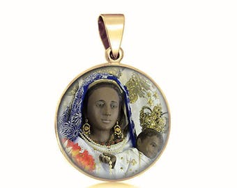 Our Lady of Piat Catholic Medal. 14K Gold Filled Black Virgin Mary Philippines Pendant Gold Charm 20mm