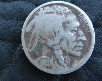 1920  US circulated  authentic vintage Buffalo Indian Nickel coin full date A120