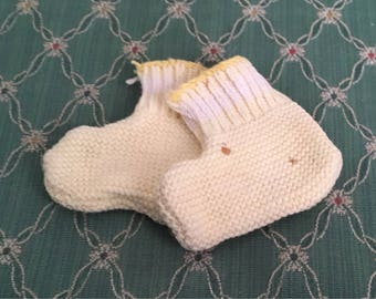 Vintage Yellow Knit Doll Booties