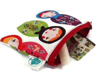 Coin Purse - Coin Bag - Change Purse - Small Cosmetic Bag - Zipper Pouch - Change Pouch in Matryoshka Russian Nesting Doll