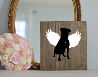 Rottweiler Angel Wing Silhouette, Remembrance Sign, Dog Memorial, Loss of Dog, Rottweiler, Rottie Dog, Rottweiler Silhouette, Memorial