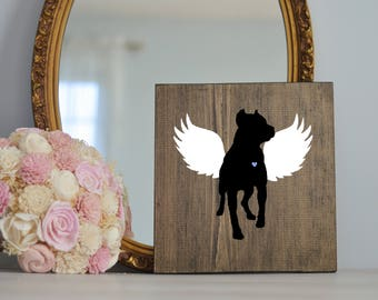 Pitbull Angel Wing Silhouette, Remembrance Sign, Dog Memorial, Loss of Dog, Cropped Ear Pitbull Silhouette, Memorial, Pitbull Memorial,