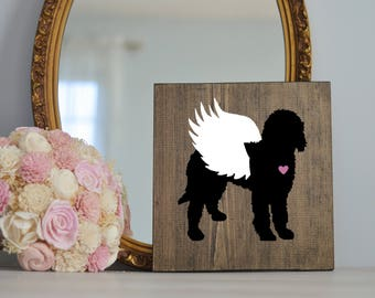Goldendoodle or Labradoodle Wing Silhouette, Remembrance Sign, Dog Memorial, Loss of Dog, Silhouette, Memorial, Pet Loss, Dog Angel