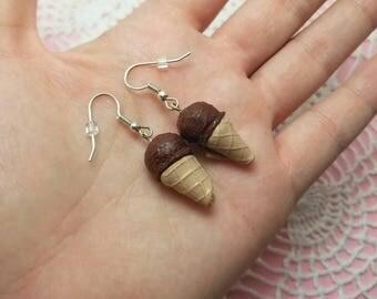 Polymer Clay Chocolate Ice Cream Earrings, Miniature Food Jewelry