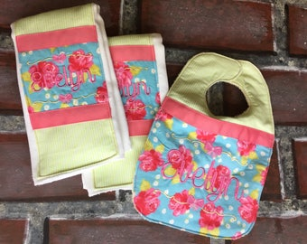 Floral baby bib and burp cloth set