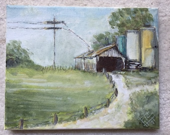 Old Shed and Water Tanks - 8 x 10 acrylic on canvas